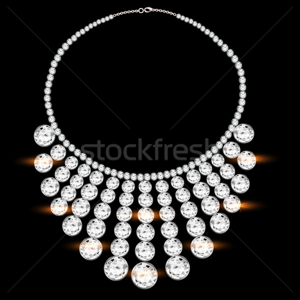 woman's necklace with precious stones on black Stock photo © yurkina