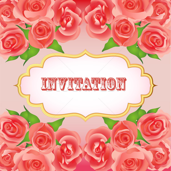 background festive invitation with red roses Stock photo © yurkina