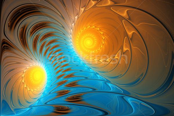 Ilustração fractal brilhante azul tornado espaço Foto stock © yurkina