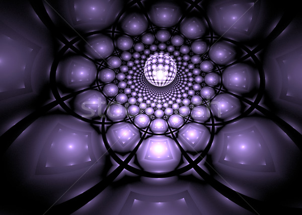 illustration of a fantastic fractal background with glowing ball Stock photo © yurkina