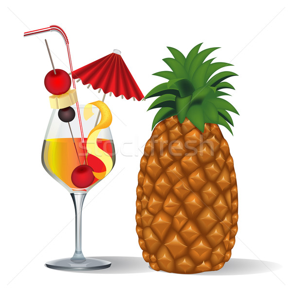 cocktail and fruits in goblet  Stock photo © yurkina