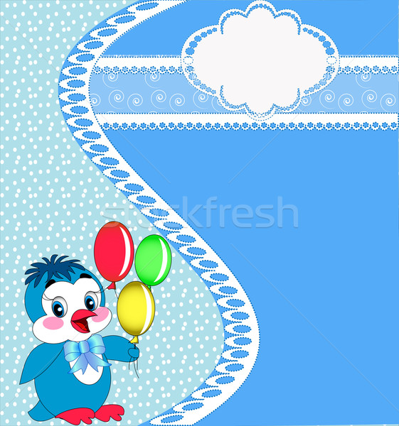 background frame penguin with air ball Stock photo © yurkina