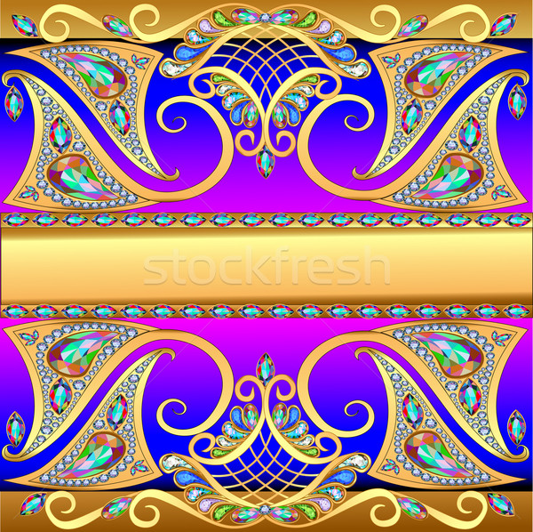 illustration background with gold pattern mesh and jewels Stock photo © yurkina