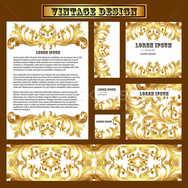 Set Vorlagen Design Jahrgang Gold Ornament Stock foto © yurkina
