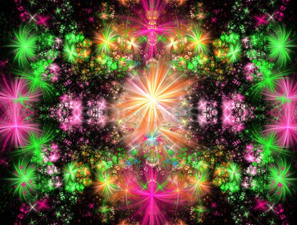 иллюстрация фрактальный ярко цветочный кадр аннотация Сток-фото © yurkina