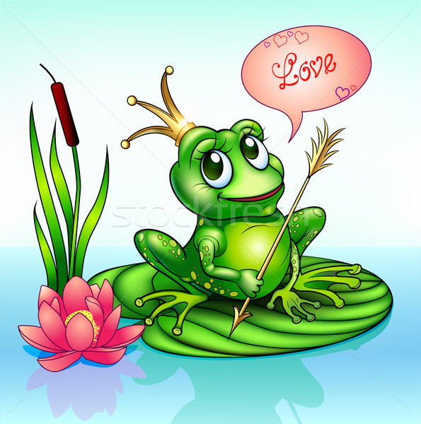 illustration frog princess on a leaf with a boom Stock photo © yurkina