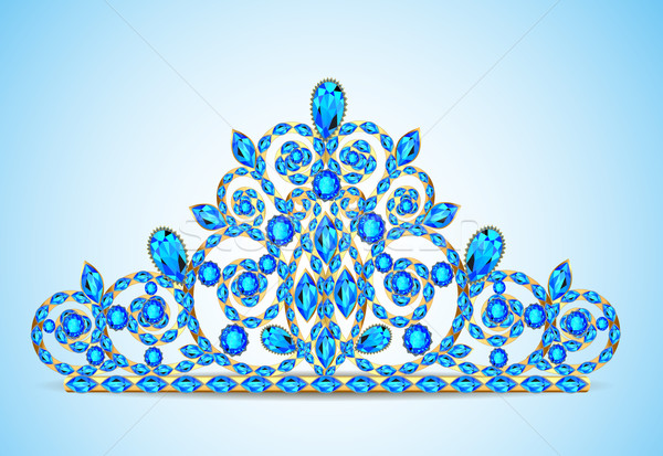 illustration women's gold diadem tiara with precious stones Stock photo © yurkina