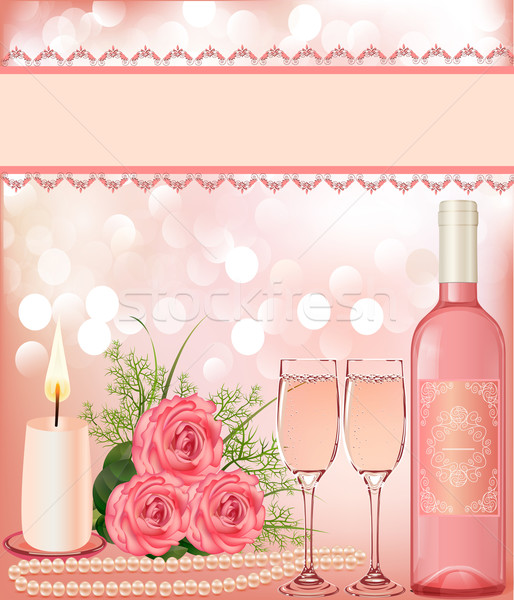 festive background with rose, pearl candle and goblet. Stock photo © yurkina