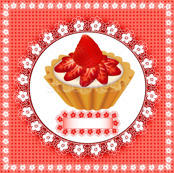 Stock photo:  background with a fruity dessert cake with strawberries