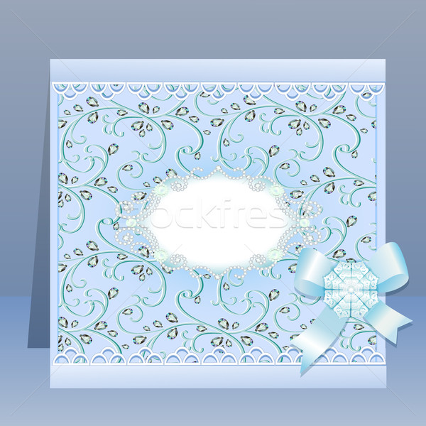 background card with a bow and delicate flower and precious stones Stock photo © yurkina