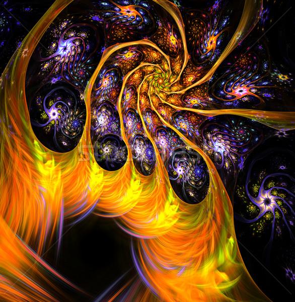 Illusztráció fraktál fényes virágmintás keret absztrakt Stock fotó © yurkina