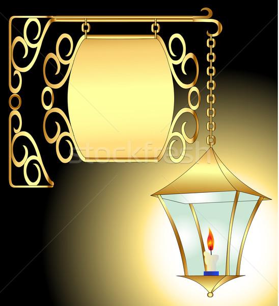 Velho tocha vela padrão ilustração arte Foto stock © yurkina