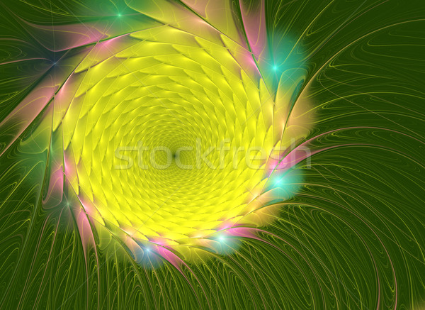 fractal illustration of bright summer sunflowers graphically Stock photo © yurkina