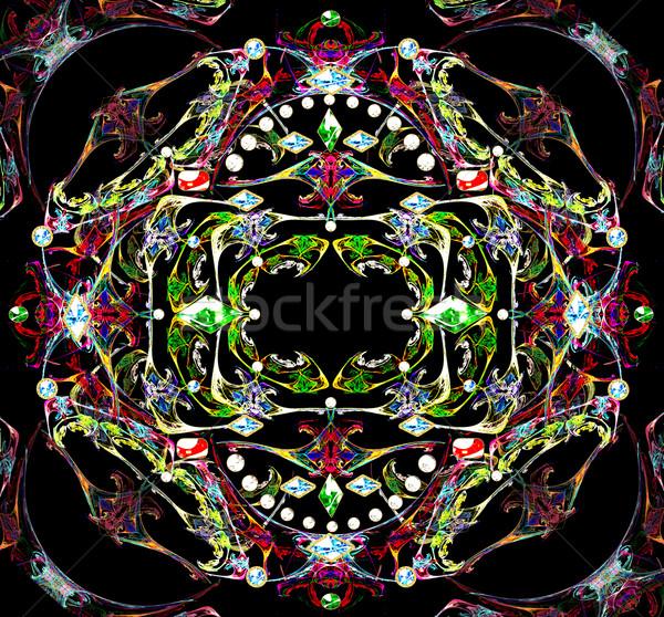 Illustratie fractal vintage sieraden kostbaar stenen Stockfoto © yurkina