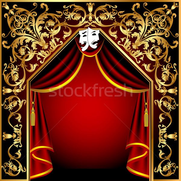 background with theatrical curtain and gold(en) pattern Stock photo © yurkina