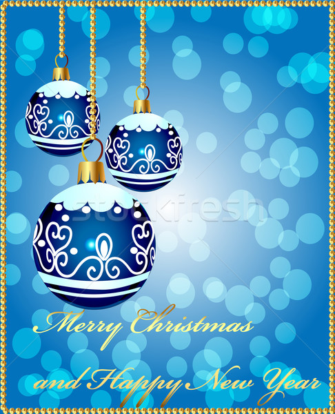 background with decorative blue ball on cristmas Stock photo © yurkina