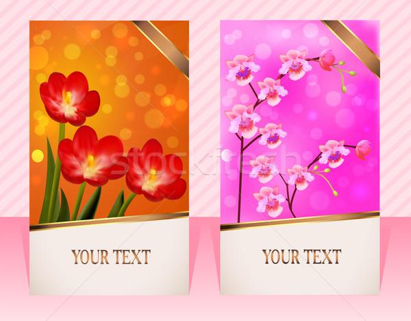 2 カード 花 招待 縞模様の 実例 ストックフォト © yurkina