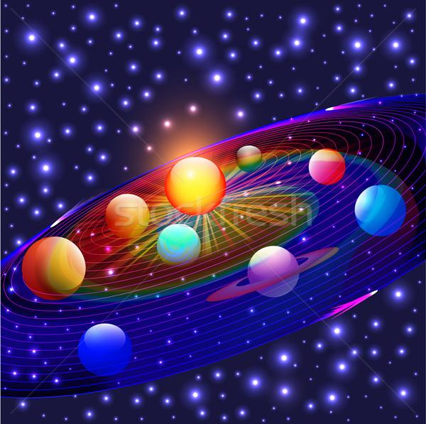 Planetas sistema solar ilustração terra espaço ciência Foto stock © yurkina