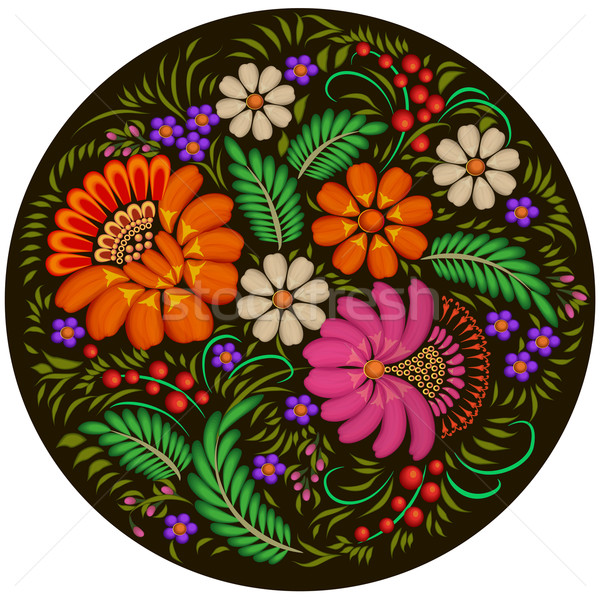 illustration background painted with flowers and berries in a circle Stock photo © yurkina