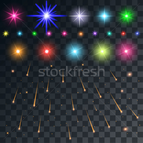 set vector space flash and stars and meteors on a transparent ba Stock photo © yurkina