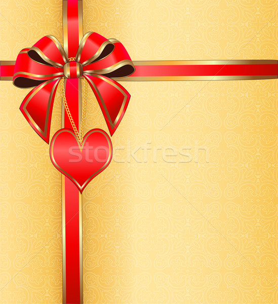 postcard on Valentine's day with the heart on a chain ribbon wit Stock photo © yurkina