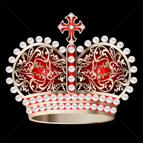 crown with pearls and ornament on a black Stock photo © yurkina