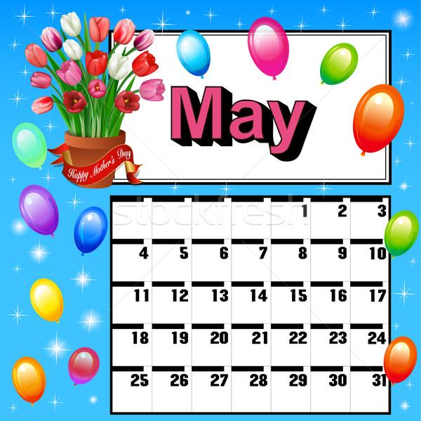 Calendario madres día flores globos ilustración Foto stock © yurkina