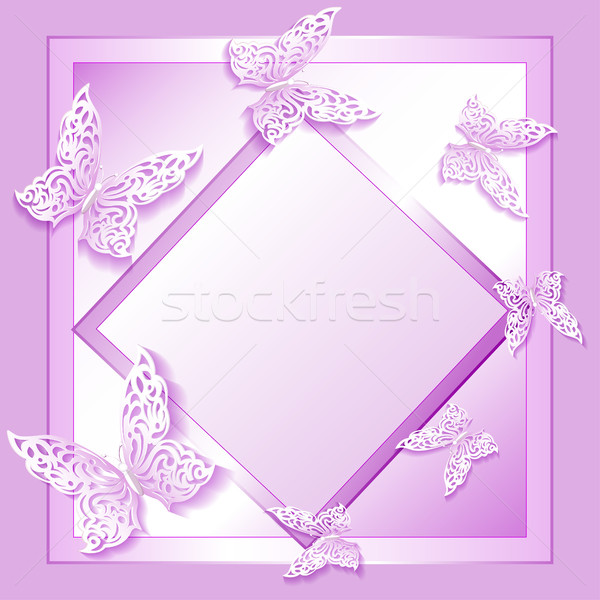 illustration background card with lacy butterflies in paper styl Stock photo © yurkina
