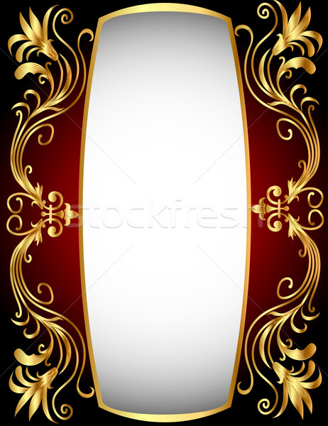 vertical frame with gold(en) winding pattern Stock photo © yurkina