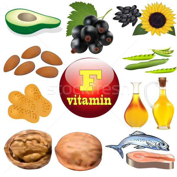 Stock photo:  vitamin F content plant and animal products