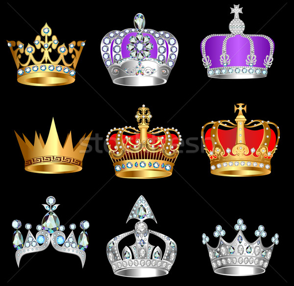 set of crowns with precious stones on a black background Stock photo © yurkina