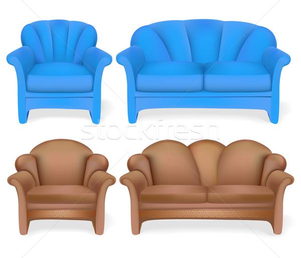 set of upholstered furniture sofa chair Stock photo © yurkina