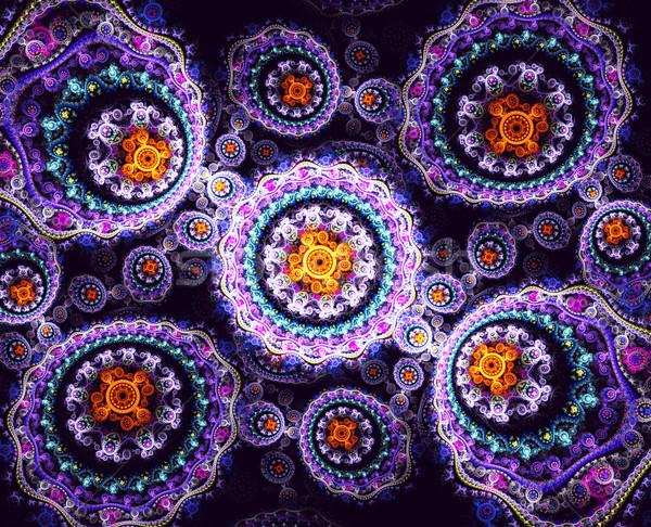 Foto stock: Ilustração · fractal · floral · padrão · luz · fundo