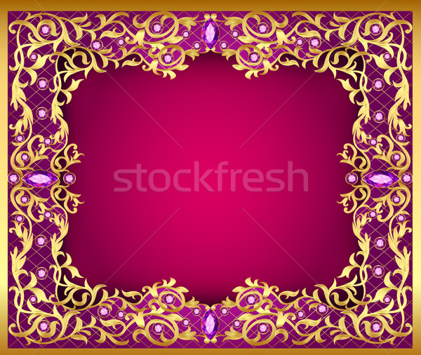 Illustratie edelstenen goud ornamenten mode frame Stockfoto © yurkina