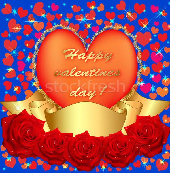 of card with rose and heart ribbon Stock photo © yurkina