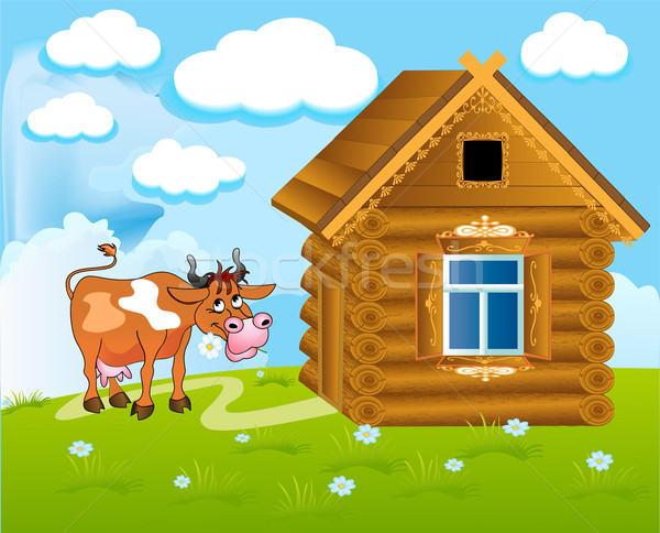 merry cow with flower Stock photo © yurkina