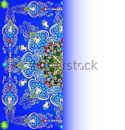 Stockfoto: Verticaal · frame · juwelen · ornamenten · illustratie · textuur