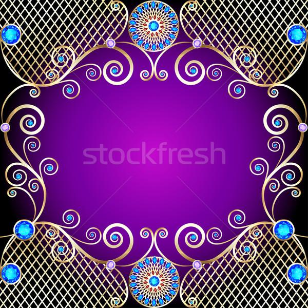 Gouden ornamenten kostbaar stenen illustratie Stockfoto © yurkina
