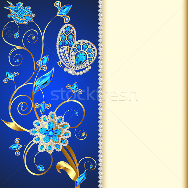 illustration background with butterflies and ornaments made of precious stones Stock photo © yurkina