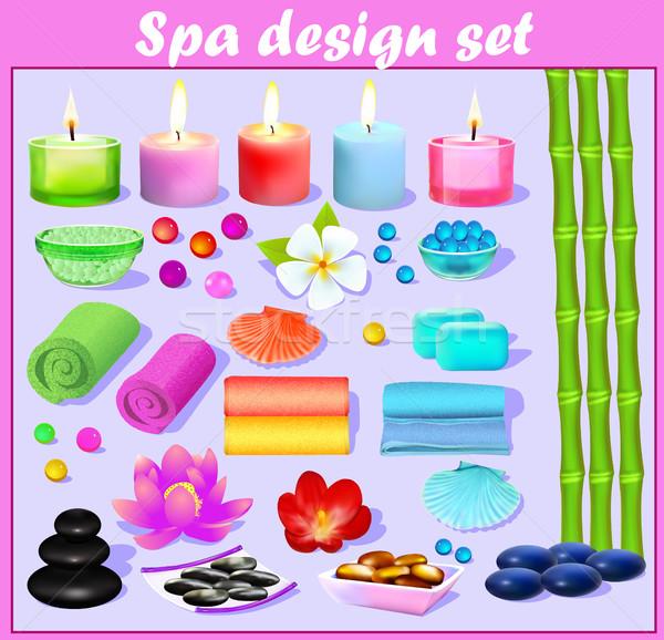 Set design elementi spa candela fiori Foto d'archivio © yurkina