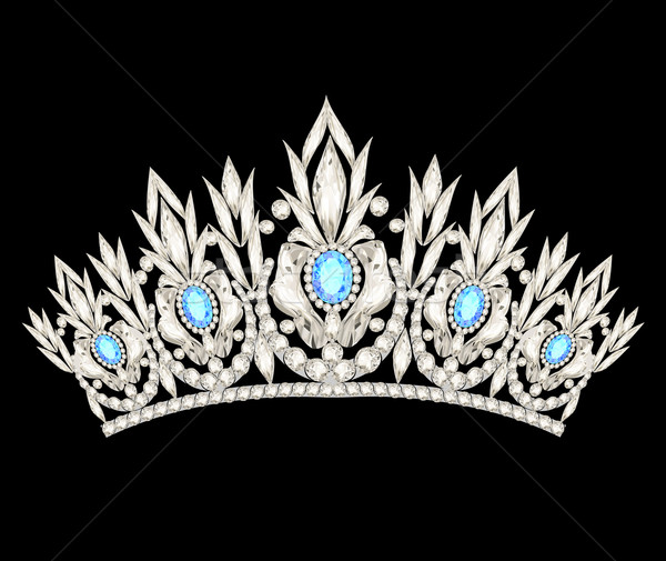 tiara crown women's wedding with a light blue stones Stock photo © yurkina