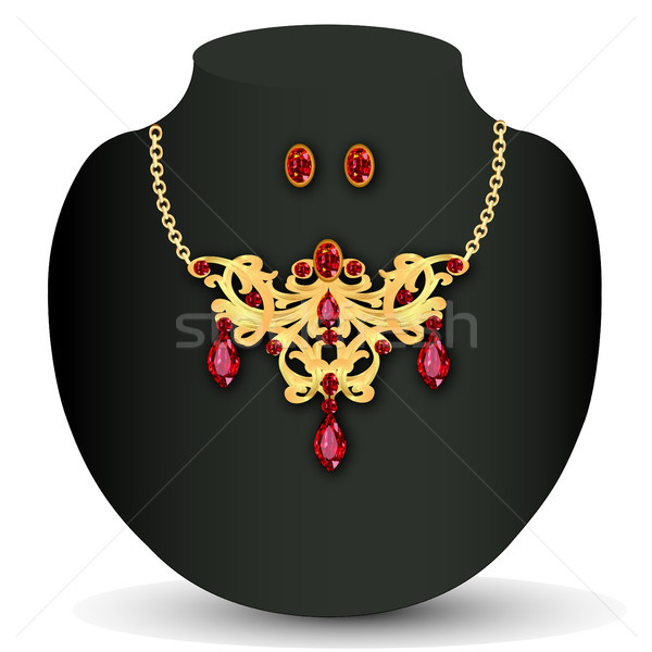 of necklace with red jewels and earrings Stock photo © yurkina
