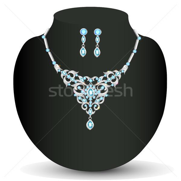 Nyaklánc fülbevalók kék ékszerek illusztráció esküvő Stock fotó © yurkina