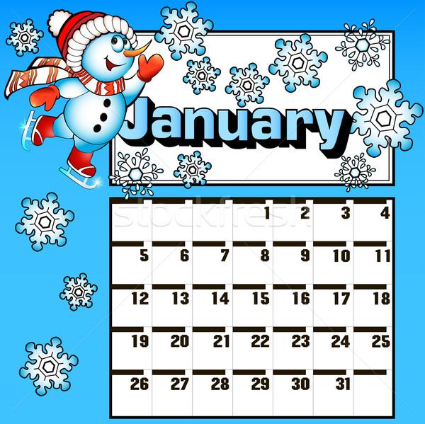 calendar for January snowman skates and snowflakes Stock photo © yurkina