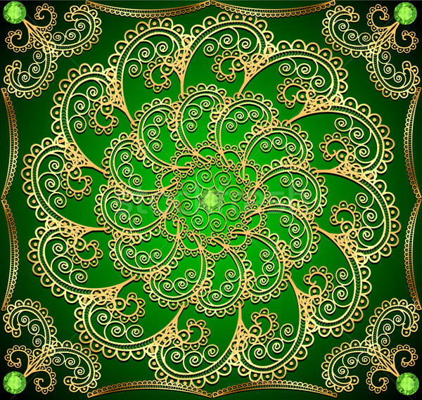 Stock photo:  background with gold ornaments and precious stones