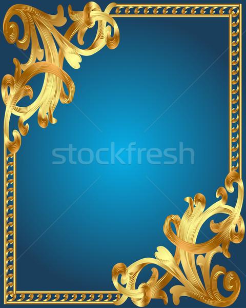 Kék keret arany zöldség dísz illusztráció Stock fotó © yurkina