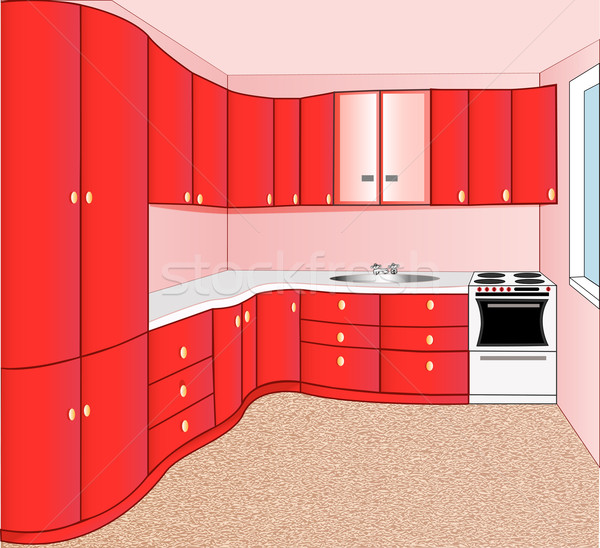 Foto stock: Interior · cocina · rojo · ilustración · grupo · edificios
