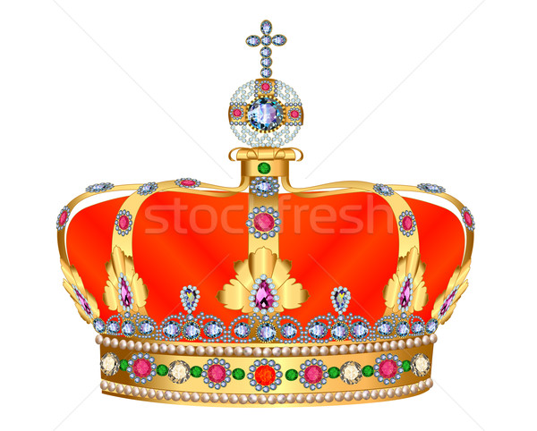 of royal gold crown with jewels and ornament Stock photo © yurkina