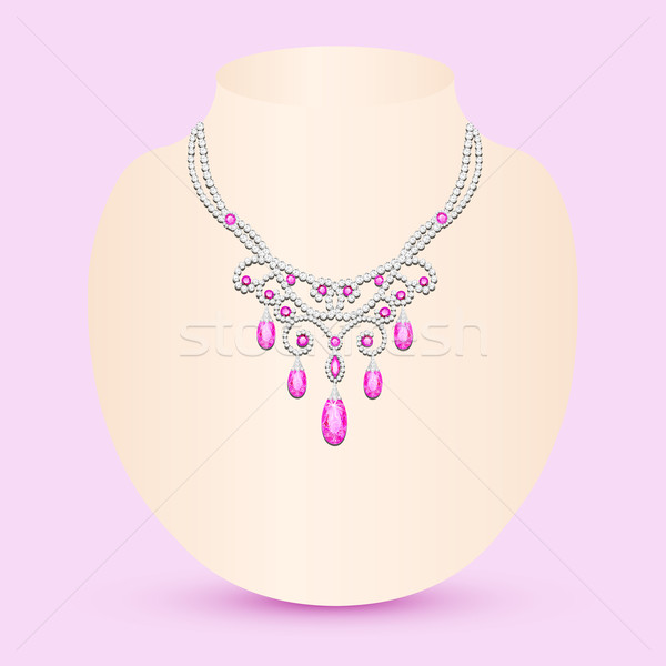 Homme collier rose bijoux illustration mariage Photo stock © yurkina