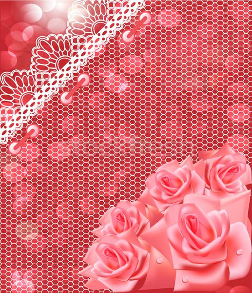 Stok fotoğraf: Kart · pembe · güller · dantel · örnek · kâğıt
